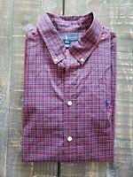 Ralph Lauren Polo XL 18-20 Plaid Button Down Blue Red Long Sleeve Shirt Boys EUC