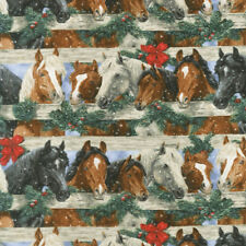 Fat Quarter Let It Snow Horses Christmas Holiday Cotton Sewing Quilting Fabric