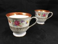 Noritake Demitasse Cups Multi-Colored Flowers with Red & Gold Trim Set of 2