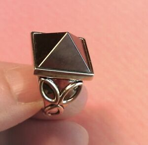 BARRY KIESELSTEIN CORD STERLING SILVER HEMATITE PYRAMID RING  SZ 8 NEW