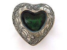 """Vintage Enamel Heart Trinket Jewelry Box Metal Pumpkin Design 2.5"""""""