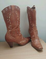 Lilley &Skinner Embroidered Western style Cowboy Boots tan leather  UK7 EU40