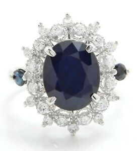 5.30 Carat Natural Sapphire and Diamonds in 14K Solid White Gold Women's Ring