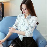 Korean Fashion Tie Women's Tops Blouse Floral Printed Long Sleeve V-neck ShirtNT