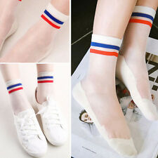 Pair of Sheer Two Tone Striped Mesh Nylon Ankle High Socks Lolita Pin-Up Vintage