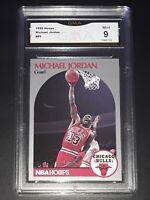 1990-91 MICHAEL JORDAN #65 NBA Hoops Basketball Chicago Bulls Graded Card GMA 9