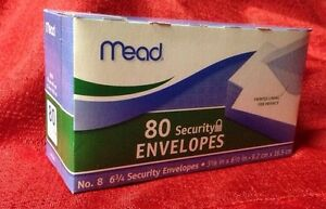80 Mead All-Purpose White Security Envelope, 3 5/8 × 6 1/2, 20 lb, 80 Count