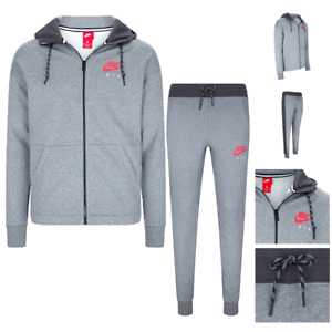 Nike Air Tracksuit Set Full Zip Hoodie Pants Carbon Heather Anthracite 861612