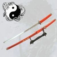 "40"" RED Katana Sword YIN YANG Dragon Carbon Steel Samurai Ninja w/ Stand"