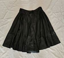 Pure DKNY Black Silk Floral Embroidered Full A-Line Skirt Below Knee Sz 6