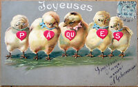 1906 Easter Postcard: Chicks with Necklaces - Embossed, Color Litho