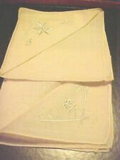 Vintage Handkerchiefs Hankies Lot Of 2 Off White with Designs Never used