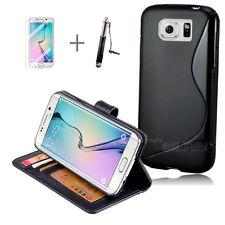 BLACK Wallet 4in1 Accessory Bundle Kit S TPU Phone Case F Samsung Galaxy S6 Edge