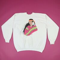 Vtg 90s Hand Painted Native American Woman Raglan Sweatshirt Fruit OT Loom LARGE