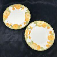 "Pair of Vintage METLOX POPPYTRAIL Sculptured Zinnia 7-1/2"" Salad Plates"