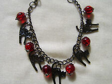 GUNMETAL CAT CHARM BRACELET WITH RED GLASS BEADS MADE IN UK
