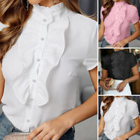 ZANZEA 8-20 Women Summer Short Sleeve Top Tee Blouse Ruffle Button Down Shirt