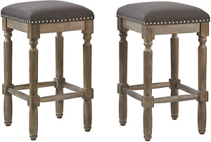 """Ball& Cast Counter Height Barstool Upholstered Grey Fabric Counter Stool Oak 26"""""""