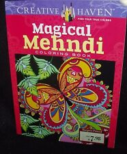 CREATIVE HAVEN MAGICAL MEHNDI COLORING BOOK & NEW FREE COLOR PENCILS (10 CT)