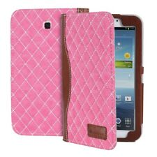 PU Leather Quilted Diamond Case Cover Sleeve for Samsung Galaxy Tab 3 7.0 - Pink
