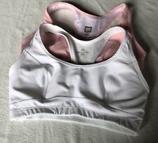 LOT OF 2 MOVING COMFORT BRAS WHITE PINK 34C ATHLETIC SPORTS EUC HIGH IMPACT 💓