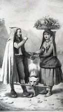 GRAVURE ANCIENNE 19e - MARCHANDE DE FUITS ET LEGUMES