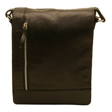 Rowallan - Black North/South Conquest Messenger Bag in Pull Up Cowhide Leather