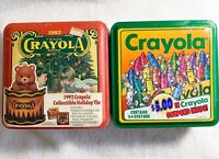 Set of 2: 1992 and 1995 Crayola Collectible Tins with 64 Crayons-Never Opened