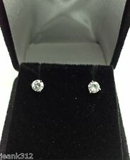 Diamond Stud Earrings 14K White Gold 0.41 Carat Round Cut Martini Anniversary