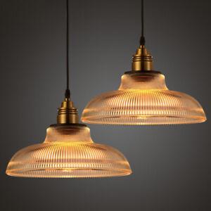 Vintage Industrial Glass Lamp Shade Pendant Ceiling Light Chandelier Fixture Bar