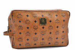 Authentic MCM Cognac Visetos Leather Vintage Clutch Hand Bag Brown D0895