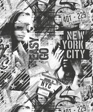 Ugepa American Graffiti Black White Wallpaper L06109 Novelty NYC New York City