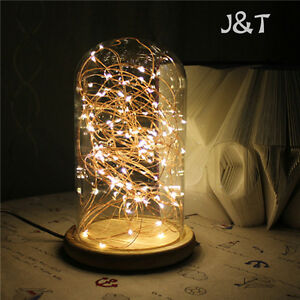 X'mas LED Firework Touch Switch  Glass Cover Wood Base Table Desk Light Lamp J&T