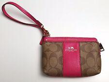 COACH SIGNATURE PVC & Leather Double Zip Wristlet Brown Pink Strap Authentic