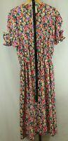 Vintage Womens Ladies Multi Color Short Sleeve Belted Dress Size 14T