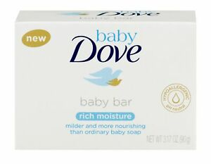 Dove Baby Bar Soap Rich Moisture Hypoallergenic pH Neutral 3.17 oz (Pack of 4)