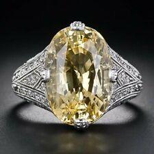 11.20 Carat Yellow Sapphire & White CZ 925 Silver Engagement & Anniversary Ring