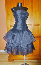 Amazing Vtg 80s Victor Costa Organza Formal Evening Party Black Strapless DRESS
