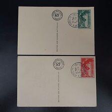VICTOIRE SAMOTHRACE N°354/355 CARTE MAXIMUM MUSÉE LOUVRE OB MONTEVIDEO COTE 340€