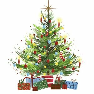 Charity Christmas Cards Pack of 10 Presents Under Tree Festive Colourful Lights