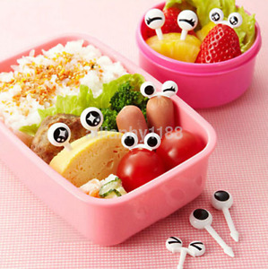 Hot 10x Cute Eye Mini Food Fruit Picks Baby Kid Forks Bento Lunch Box Tools AU