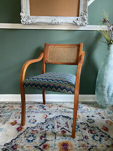 Boho Vintage Reupholstered Cane Back Chair w/ Arms