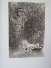 Vintage Print,MOSES IN BULRUSHES,Great Men+Famous Women,1894