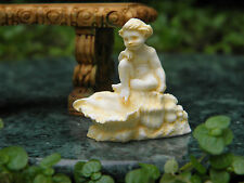 Miniature Dollhouse FAIRY GARDEN Accessories ~ Ivory Cherub w/ Seashell Statue