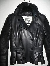 NEW $2,995 BURBERRY LONDON Headington  Black Leather Peplum Jacket Size USA 02