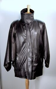 1980s Vintage Black Leather Batwing Jacket M - Padded Shoulders - Excellent