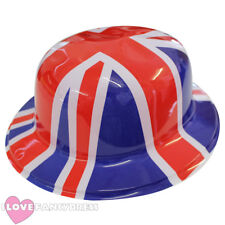 UNION JACK PLASTIC BOWLER HAT ENGLAND BRITISH ROYAL JUBILEE FANCY DRESS PARTY