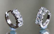 Pretty Princess & Rectangle Created Diamond 1.3cm Hoops