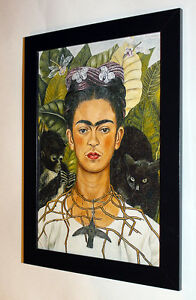 Frida Kahlo Self-Portrait with Necklace canvas framed 7X8.8&10X13,6 reproduction