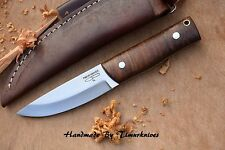 8 INCH CUSTOM MADE 1095 H.C STEEL BUSHCRAFT KNIFE SCANDI GRIND WOOD TIMURKNIVES